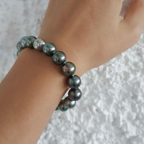 Bracelet perles de Tahiti multicolores - 9/10mm - Fermoir en or