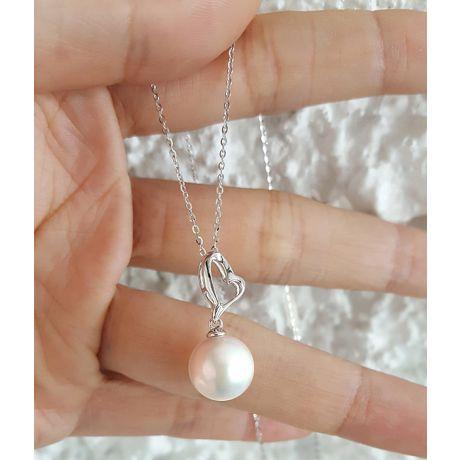 Pendentif cœur de Cupidon or blanc - Perle d'eau douce blanche