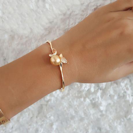 Bracelet végétal jonc or jaune - Perle d'Australie dorée - Diamants