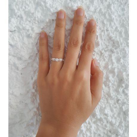 Anello di Fidanzamento Composto Cassandra - Oro Bianco & Giallo, Diamanti | Gemperles