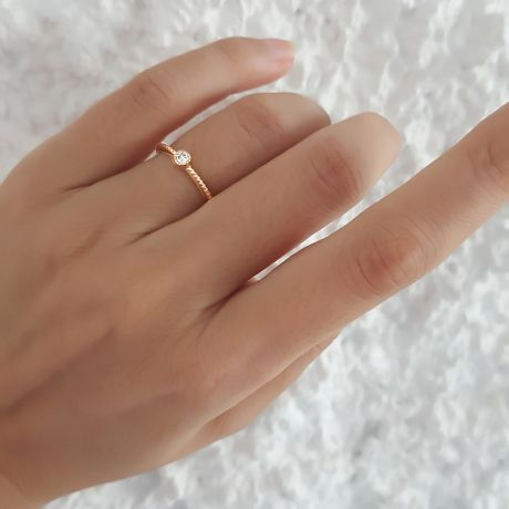 Bague solitaire diamant tressée Or jaune