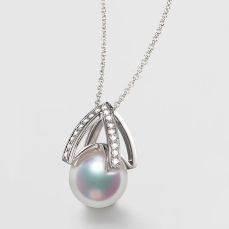 Pendentif perle Akoya Japon - Diamant, Or blanc - Masako