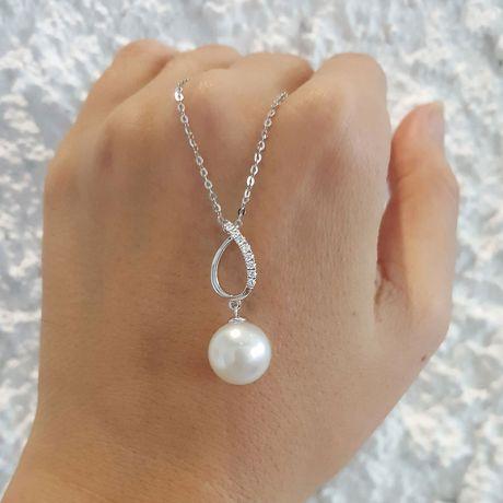 Pendentif Île Maria - Perle d'Australie blanche - Or blanc, diamants