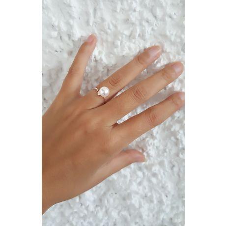 Anello oro bianco - Perla Akoya bianca, rosa - 8/8.5mm