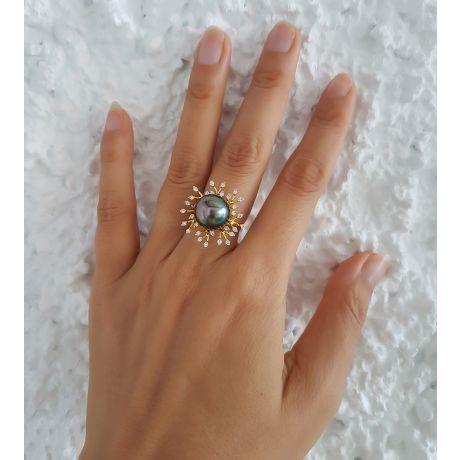 Bague de luxe - Récifs coralliens - Perle de Tahiti, or jaune, diamants