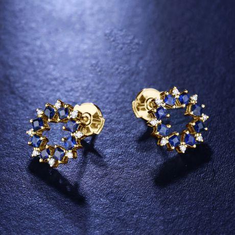 Boucle d oreille fleur de bleuet - Saphir, diamant, or jaune