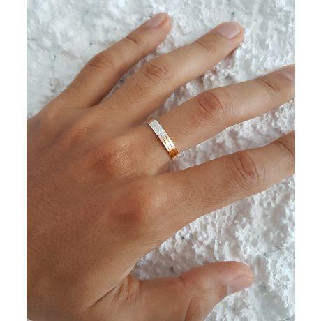 Alliance de mariage rainure - 2 ors - Homme