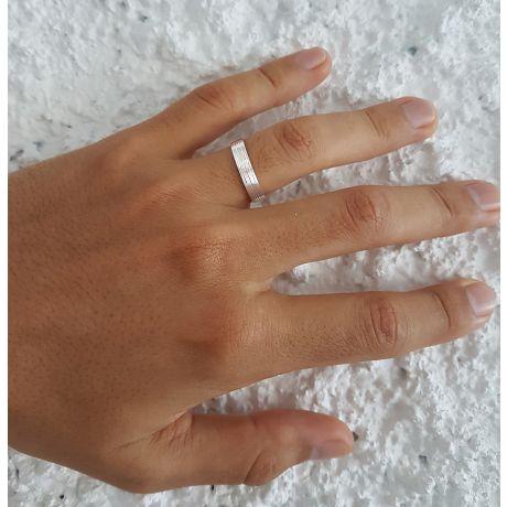 Alliance homme striée - Or blanc 18 carats | Une vie avec toi