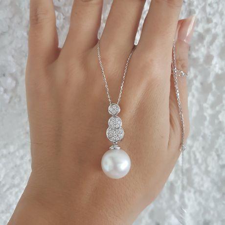 Pendentif de joaillerie en or blanc, diamants et perle d'Australie