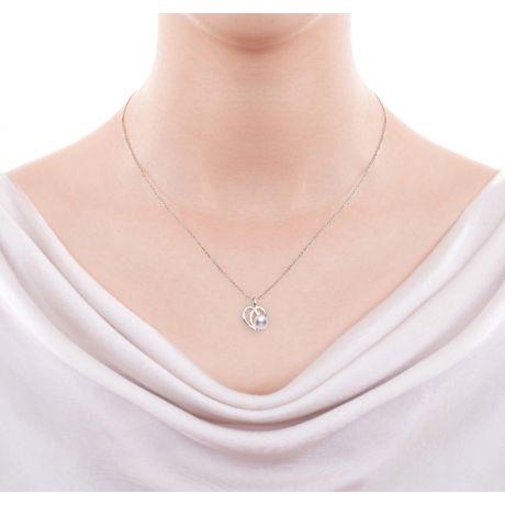 Pendentif Chiaki. Coeur moderne Or blanc. Perle Akoya, Diamant