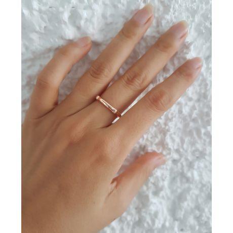Bague bambou or rose 18cts - Anneau luxe et pierres diamants