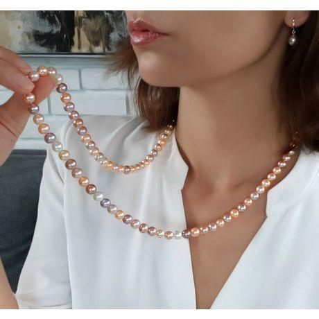 Collier perles multicolores - Perles de culture de Chine - 7.5/8mm
