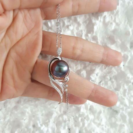 Pendentif phoenix - Perle de Tahiti noire - Or blanc, diamants