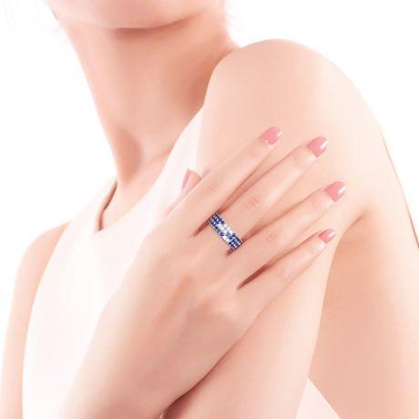 Bague blue lagoon - Pavée saphir & diamant - Or blanc
