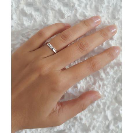 Fede nuziale Donna in Oro bianco e Diamanti | Yavana
