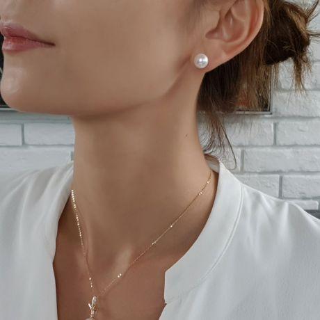 Boucles oreilles or blanc - Clous d'oreilles perles 9/9.5mm culture