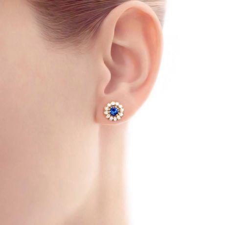 Orecchini a Lobo Blu Medici - Zaffiro, Oro Giallo e Diamante   Gemperles