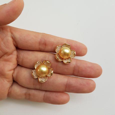 Boucles d'oreilles fleurs de frangipanier - Perles d'Australie dorées