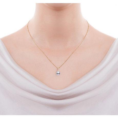 Pendentif Ojo. Perle Akoya Japon. Couronne Diamants, Or jaune