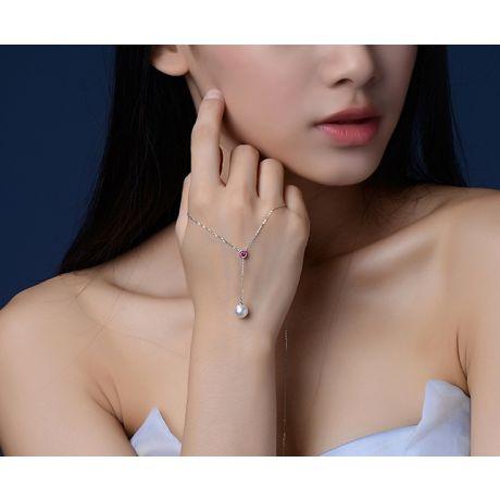 Collier pendentif perle Akoya. Chaîne Or blanc, Saphir rose