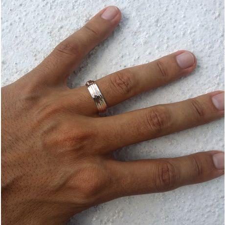 Alliance 2 ors Homme - Or blanc poli et rose brossé - Diamants