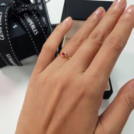 Bague anneau solitaire en rubis - Or jaune 18cts - Sertissage clos