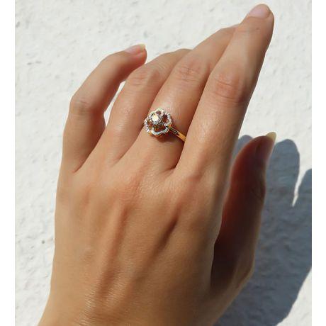 Anello Solitario Composto Fiore di Stendhal - Oro Giallo & Diamanti | Gemperles