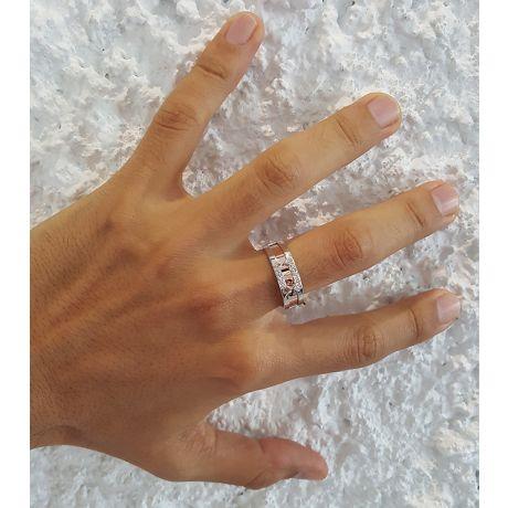 Anello Uomo in Oro bianco e rosa 18ct, Diamanti | Ford