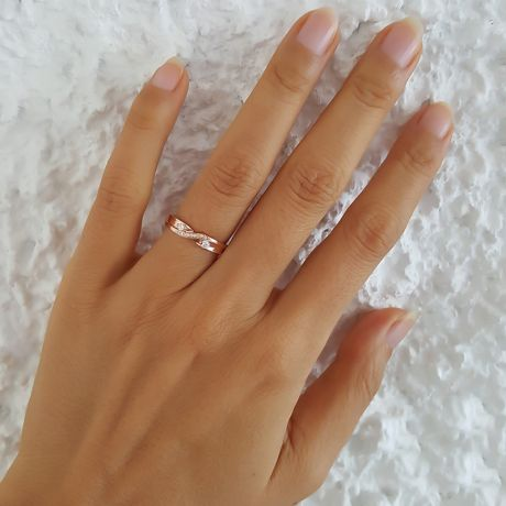 Alliance mariage diamants or rose Femme   Constance