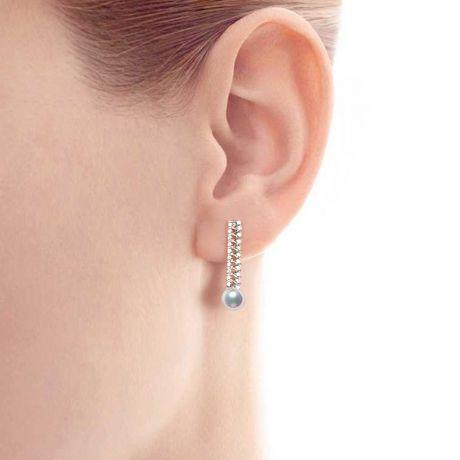 Boucle d oreille perle du Japon. Or blanc, diamant - Hatsune Miku