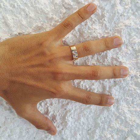 Bague stylisée homme or gris - Or jaune 18cts & Diamant   Marcus