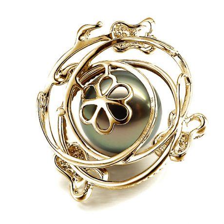 Pendentif la vie en rose - Perle de Tahiti - 3 roses or jaune, diamants