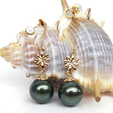 Boucles oreilles fleurs naturelles - Chainettes or jaune - Perles Tahiti