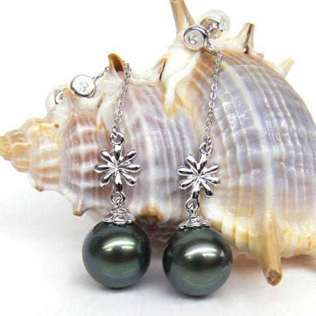 Boucles oreilles fleurs naturelles - Chainettes or blanc - Perles Tahiti