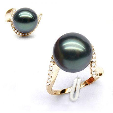 Bague Bora Bora - Or jaune, diamants - Perle de Tahiti bronze