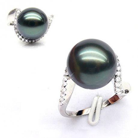 Bague Bora Bora - Or blanc, diamants - Perle de Tahiti bronze