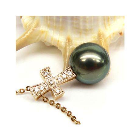 Ciondolo croce oro giallo - Perla di Tahiti nera, pavone - 10/11mm