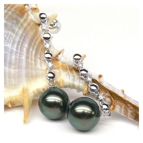 Boucles oreilles chainettes - Perles de Tahiti - or blanc, diamants