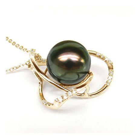 Pendentif lotus - 3 pétales - Perle de Tahiti - Or jaune, diamants