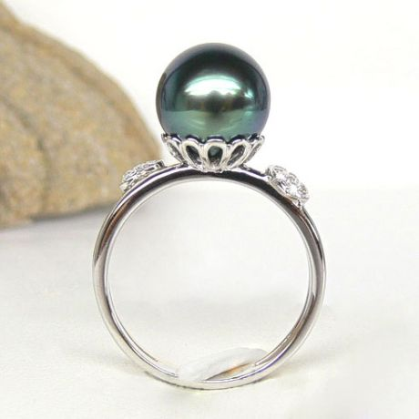 Bague coeurs - Ovation à l'amour - Perle de Tahiti - 2 ors, diamants