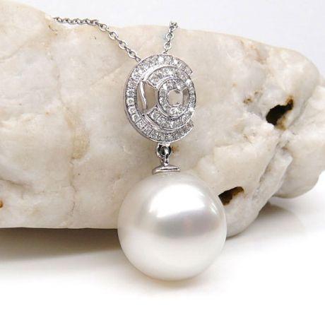 Pendentif 3C - Or blanc et diamants - Perle d'Australie blanche
