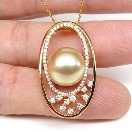 Pendentif haute joaillerie - Ellipse - Perle d'Australie dorée