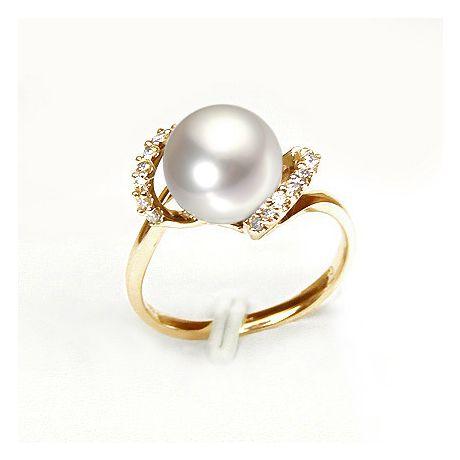 Anello oro giallo, diamanti - Perla acqua dolce bianca, crema - 9/10mm