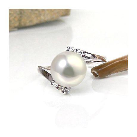 Anello oro bianco - Perla acqua dolce bianca, crema - 9/10mm