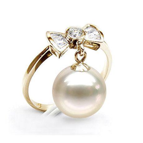 Bague noeud papillon - Or jaune, diamants, perle de culture