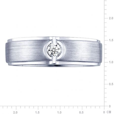 Bague Homme or blanc. Diamant solitaire. Or 750/1000 brossé et poli | Lorenzo