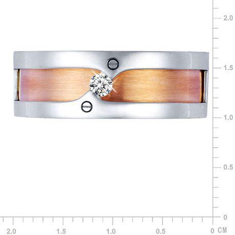 Anello Uomo - Oro bianco, rosa 9.50gr - Diamante 0.060ct