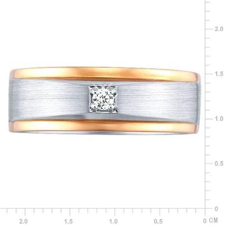 Bague Homme. Or blanc & rose 18cts, Diamants 0.045ct   Richard