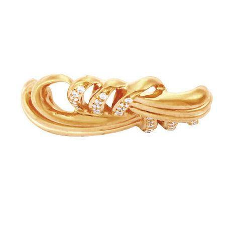 Pendentif branches sinueuses et diamants pavés - Bijou quadra or jaune