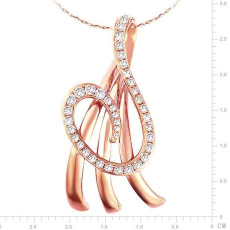 Pendentif or rose divinité marine - Méandre de 40 Diamants 0.242ct